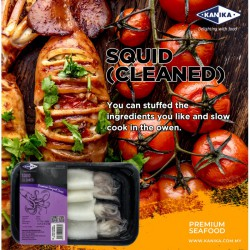 KANIKA WHOLE CLEANED SQUID (200G X 30TRAY) 3-4PCS/TRAY