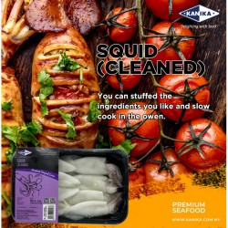 KANIKA WHOLE CLEANED SQUID (200G X 30TRAY) 6-8PCS/TRAY