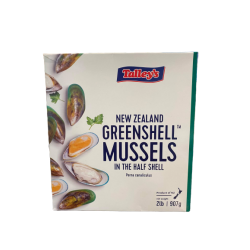 NZ TALLEY'S HALF SHELL GREEN MUSSELS (907GMX12PKT)